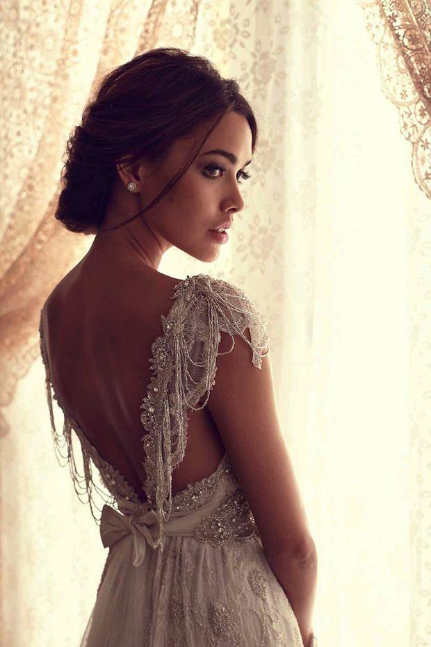 Vintage Beaded Cap Sleeves Lace Wedding Gown