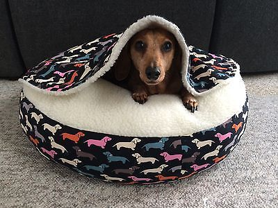 NEW Dachshund Small Dog Bed Snuggle Bed for Burrowing Dogs New Doxie Fabric