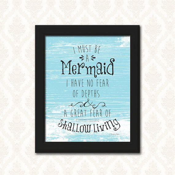 Home Decor Printable Wall Decor Print, Mermaid Quote