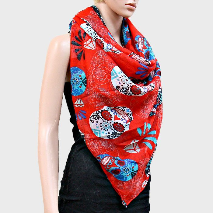 Sugar Skulls Blanket Scarf Day of the Dead Wrap - Red