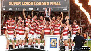 Wigan Warriors celebrate their 2013 Grand Final win