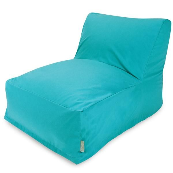 """Teal Bean Bag Chair Lounger Dimensions: 36"""" L x 27"""" W x 24"""" HType: Indoor / OutdoorUsage: Indoor / OutdoorPattern: Solid TealMade in: USAZippered SlipcoverOutdoor Treated FabricWeight Capacity: 200 lbsMade in USA, Outdoor treated polyester Removable Slipcover, Spot Clean Only, Waterproof Denier Base, Eco-friendly."""