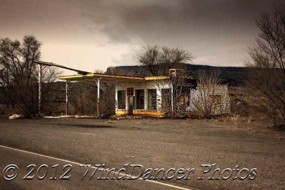 Old Gas Station on Route 66 - 9 x 12 Fine Art Photo - Route 66 - Gift Idea for Men -  Southwest - Americana - Home Decor - Office Decor