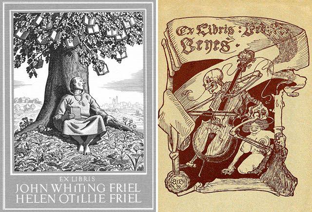 en un comienzo los Ex Libris eran simplemente marcas con el nombre, con el tiempo se convirtieron en alho mucho más elaborado y decorativo. Las familias nobles tienen el suyo con su escudo de armas y otros se fueron sumando a las tendencias de la época. Los hay de dragos, ángeles, pájaros, instrumentos musicales, plantas…