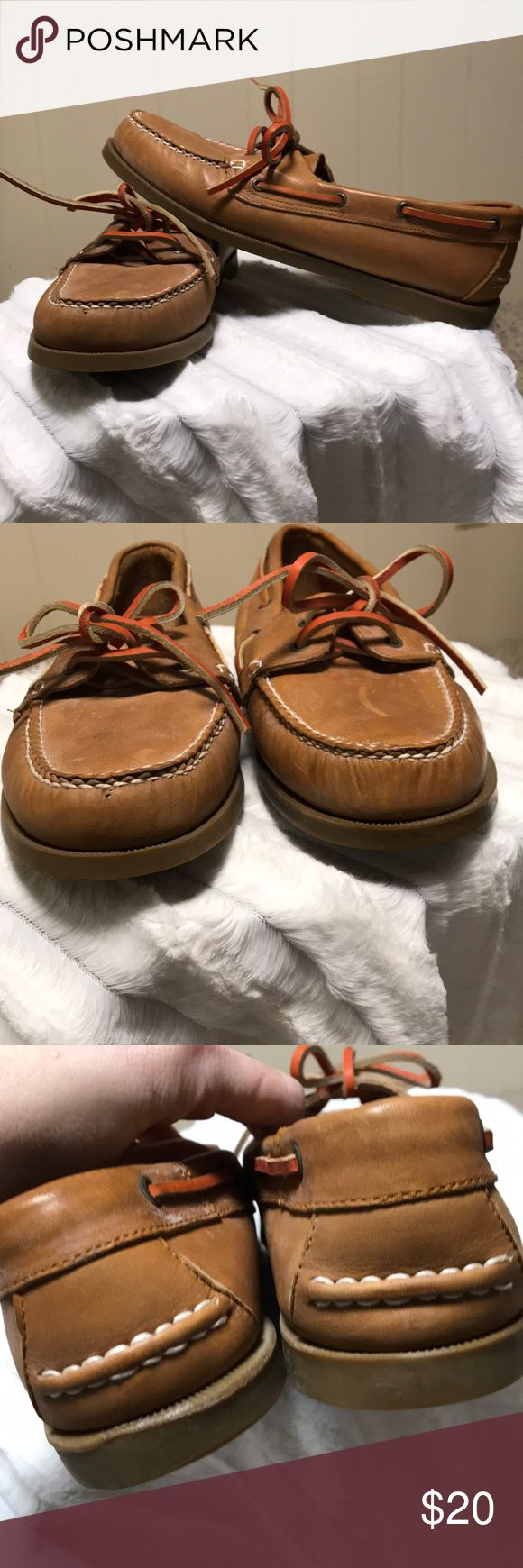 Trader Bay men's brown boat shoes NWOT No box. Never worn. Light brown. Orange laces. Snag a deal! Size is 9D. Bundling is fun; check out my other items & save!  Home is smoke free/ cat friendly. No price talk in comments. No trades or holds. Trader Bay Shoes Boat Shoes