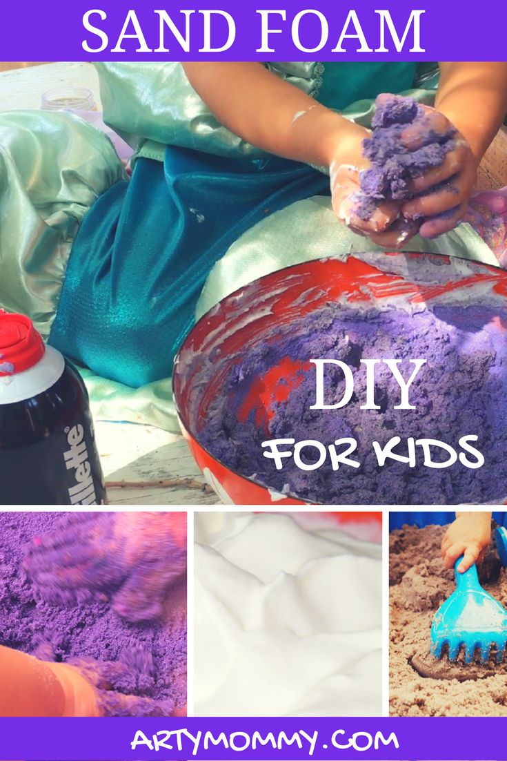 Sand Foam! This DIY for kids is so easy -- Sand Foam requires only TWO ingredients. With a little sand and white shaving cream (and food coloring if you so desire), your kid can engage in sensory play, mold and create! A perfect activity for kids of all ages -- those who love slime and gak will love this!