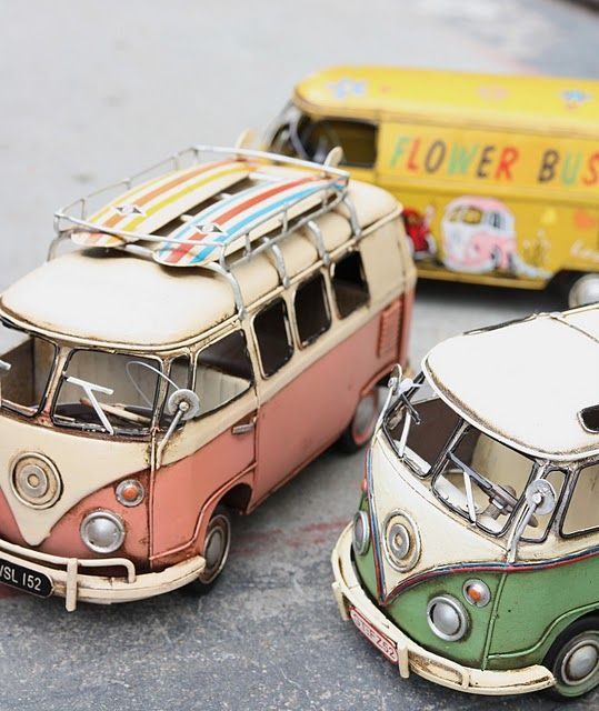 love these weathered miniature VW camper vans! the closest thing i have to the real deal!