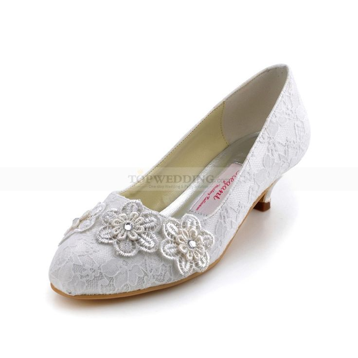 Round Toes Low Heels Lace Pumps with Rhinestone Flower Decor