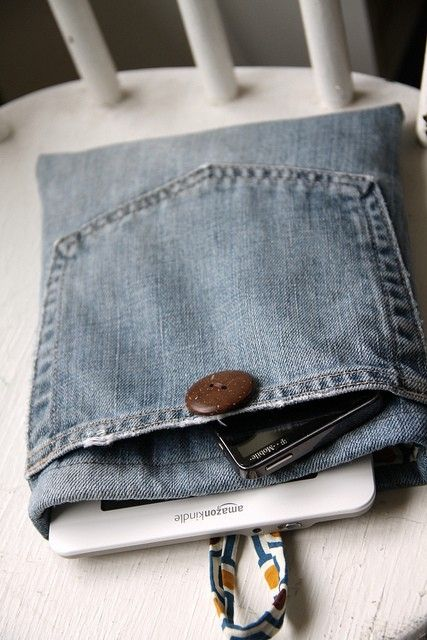 Tablet sleeve Upcycle from Jean leg with pocket embellishment.