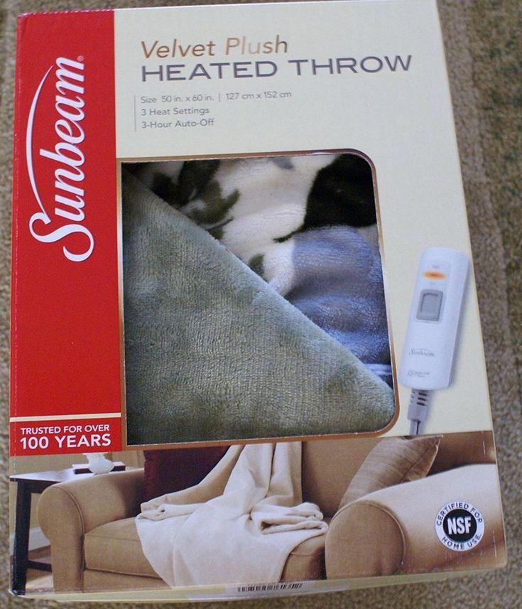 Soft Electric Heated Throw Blanket Velvet Plush Washable w/ 3 Heat Setting #Sunbeam