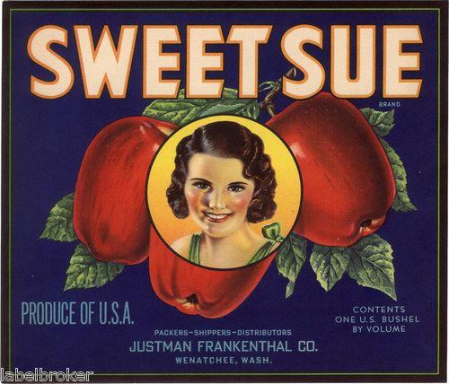 Crate Label Vintage Wenatchee Scarce Sweet Sue 1940s Washington State   eBay: 1940S Washington, Its Sweet, Washington State, Packet Artwork, Seed Packets, Apple Crates