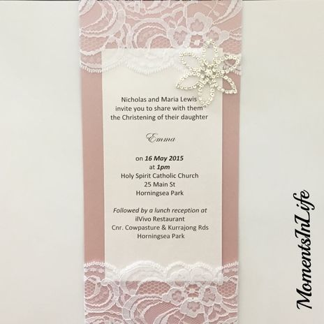 Lace & Crystal Flower Invitation www.momentsinlife.net.au
