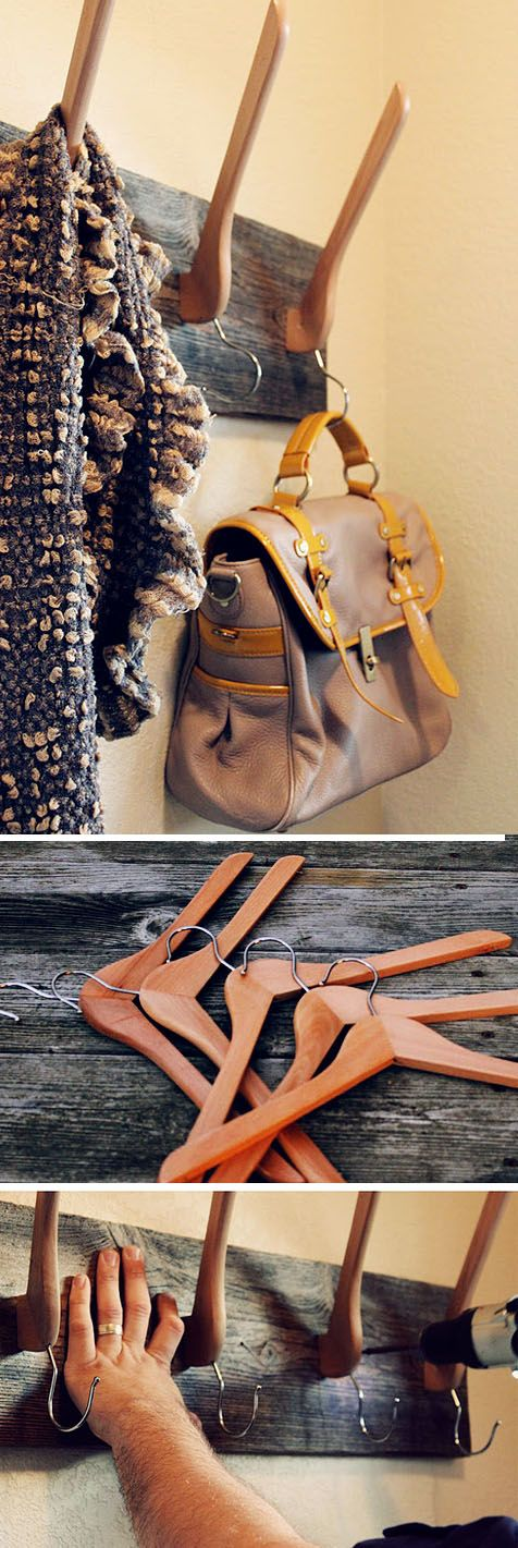 DIY Coat rack made with hangers -