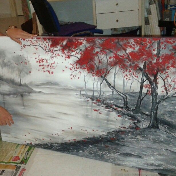 Canvas painting acrylics black and white with red details.!