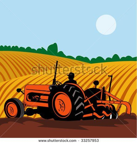 Farmwork #tractor #retro #illustration