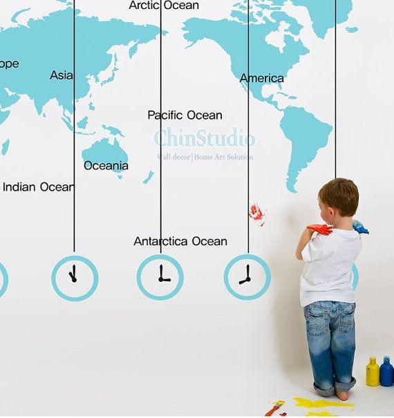 World Map-Kids wall decal wall sticker Abstract wall art