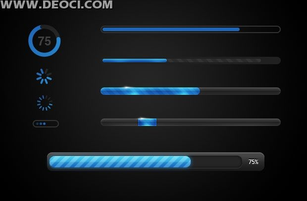 UI progress bar loading icon design elements layered material PSD file download