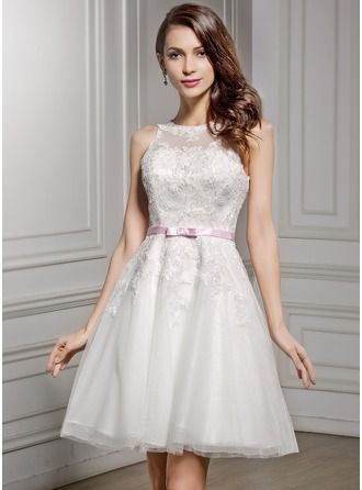 A-Line/Princess Scoop Neck Knee-Length Satin Lace Wedding Dress With Sash Bow(s)