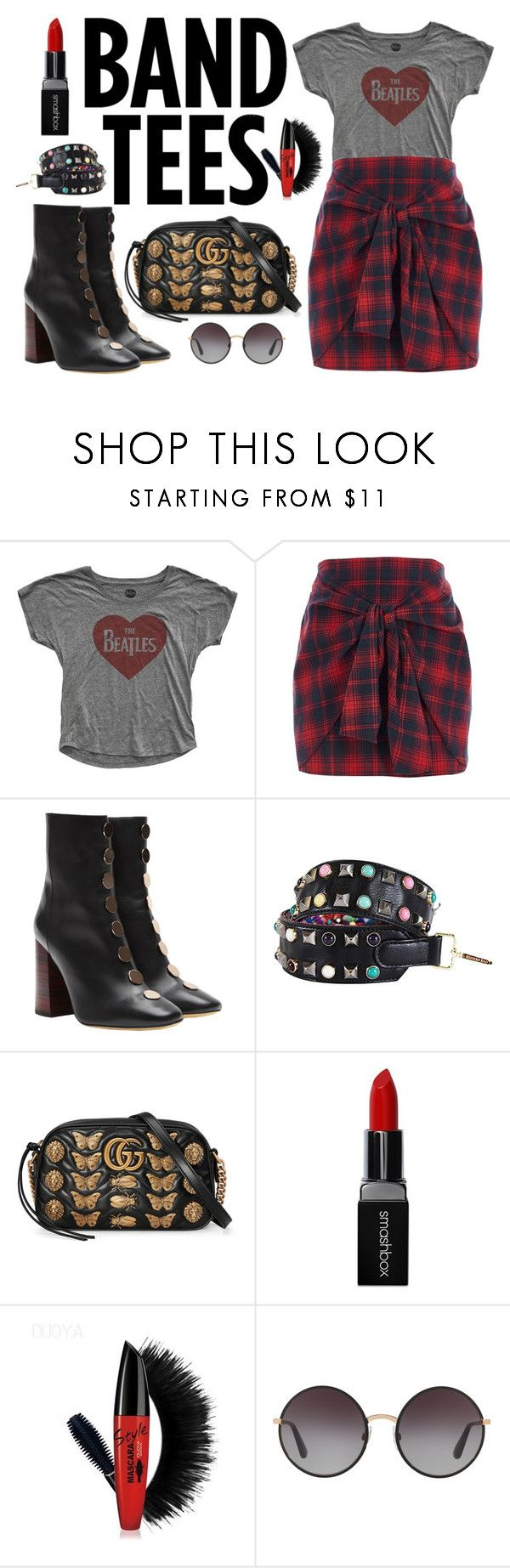 """""""Beatles Band Tee"""" by katebillingsley on Polyvore featuring River Island, E L L E R Y, Nicole Lee, Gucci, Smashbox, Dolce&Gabbana, Studs, Beatles, bandtees and rockstyle"""
