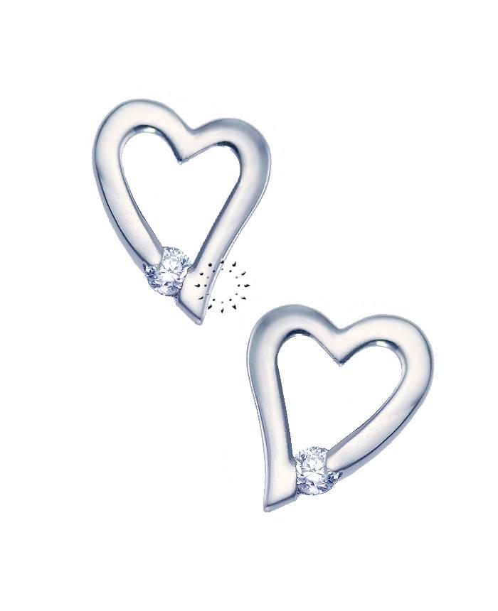 Σκουλαρίκια Καρδιά 14K Λευκόχρυσο με Ζιργκόν  139€  http://www.kosmima.gr/product_info.php?products_id=10201