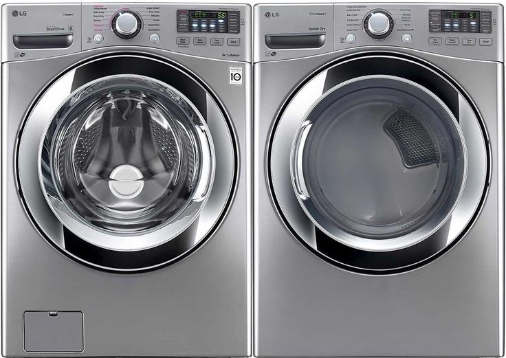 LG LGWADREV101 Side-by-Side Washer & Dryer Set with Front Load Washer and Electric Dryer in Graphite Steel