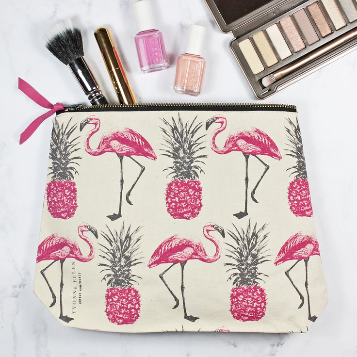 Unique and quirky high quality natural canvas, Fairtrade, screen printed 'Flamingos and Pineapples' zip pouch. These generously sized zip fastening bags are perfect for everyday essentials, use as a handy make up bag, pencil case, sewing kit, the options are endless. Also perfect for storing all your holiday essentials in style.Each bag has been lovingly designed and hand screen printed and would make a perfect gift for a friend or family member, or of course, as a treat...