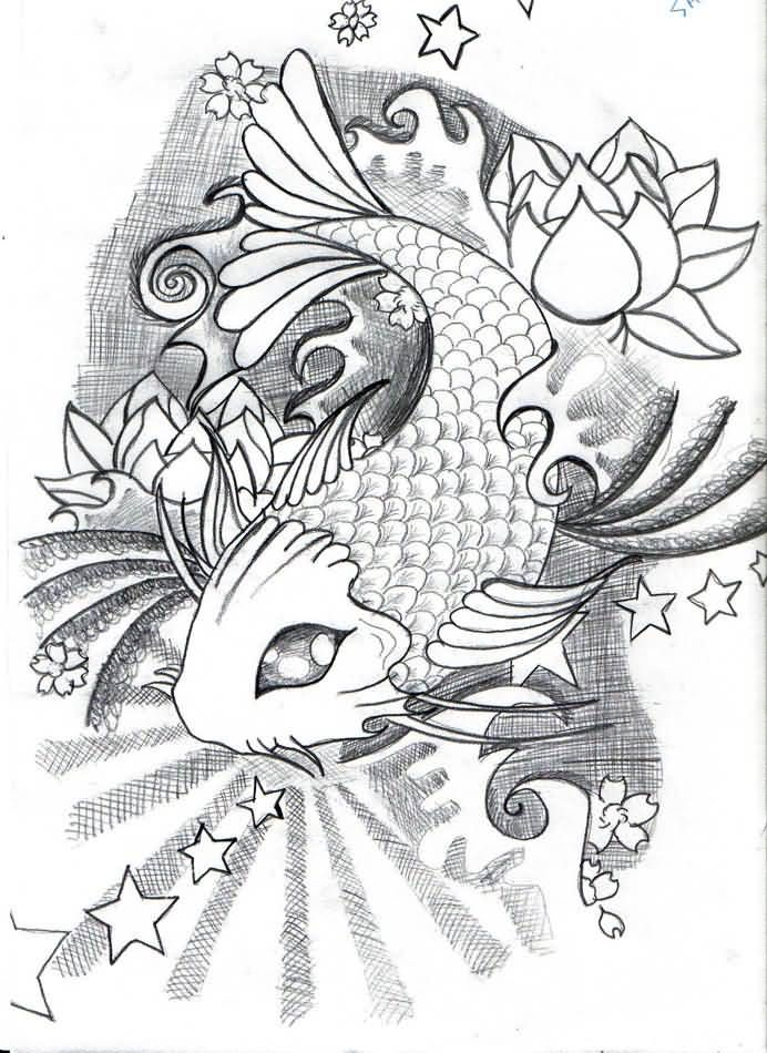 how to draw a koi fish tattoo style