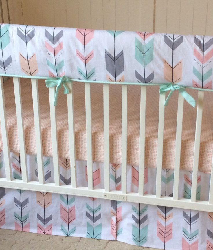 peach coral mint and gray bumperless crib bedding a personal favorite from my etsy shop https. Black Bedroom Furniture Sets. Home Design Ideas