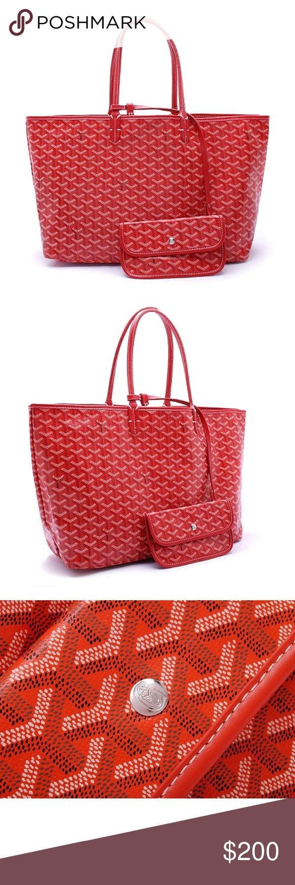 Goyard Red St Luis PM Tote w/ Matching wallet $200 Goyard inspired pm Tote really nice looks very similar to original for a fraction of the cost $2000! Get yours for only $200. Nobody can tell the difference Goyard Bags Totes