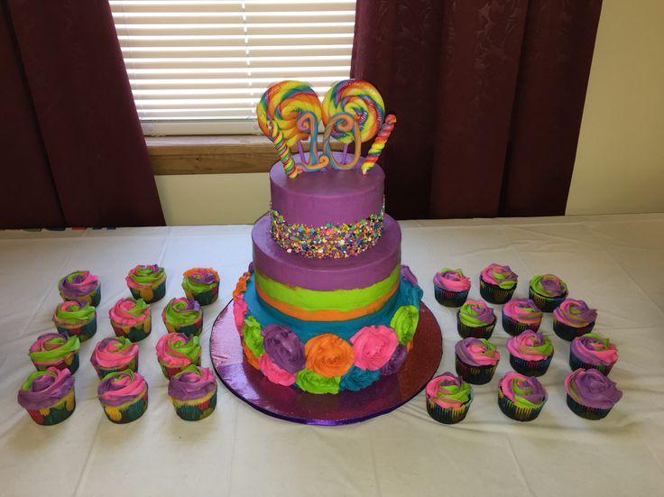 Rainbow cake  Lollipop cake