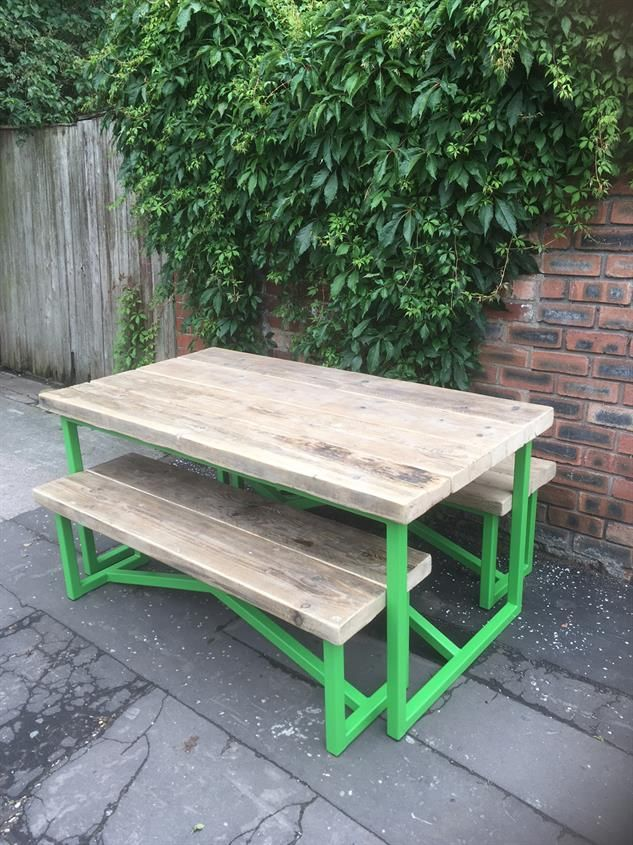 Industrial Reclaimed Wood Dining Set with Powder Coated Frame -  www.reclaimedbespoke.co.
