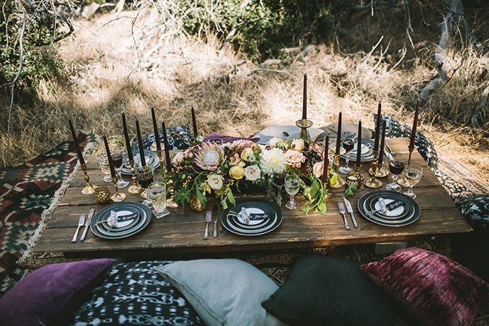 Spellbound Halloween Wedding Reception Burgundy and Dark Colored Tablescape…
