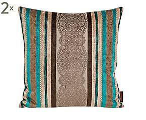 Set de 2 fundas de cojín Sari, turquesa y gris – 50x50