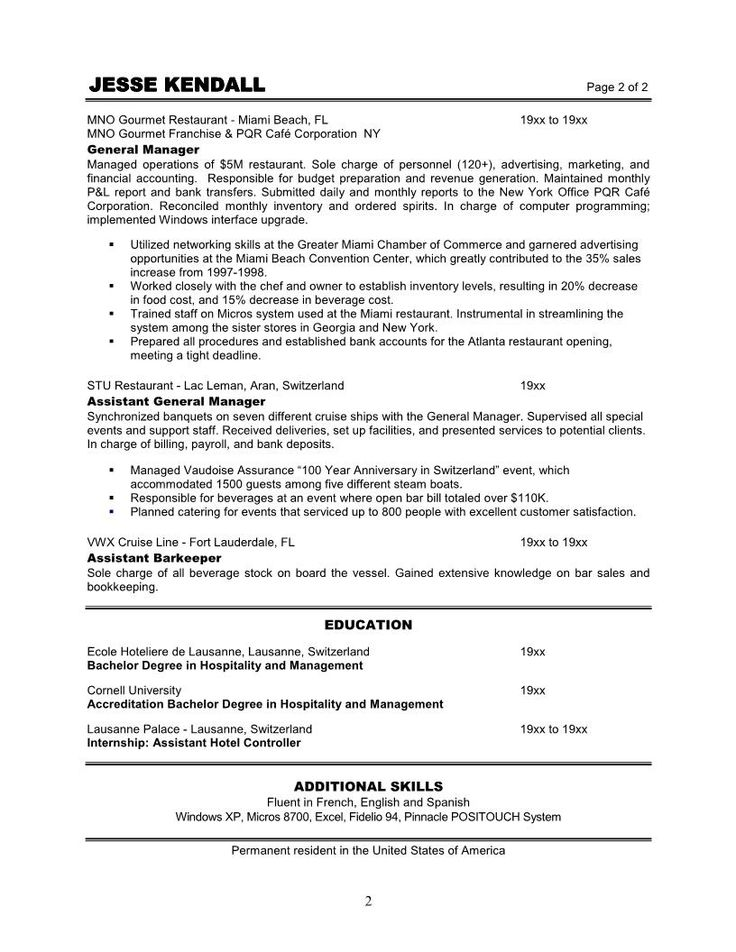 restaurant assistant general manager resume sample provide reference correct good quality format objective sampl