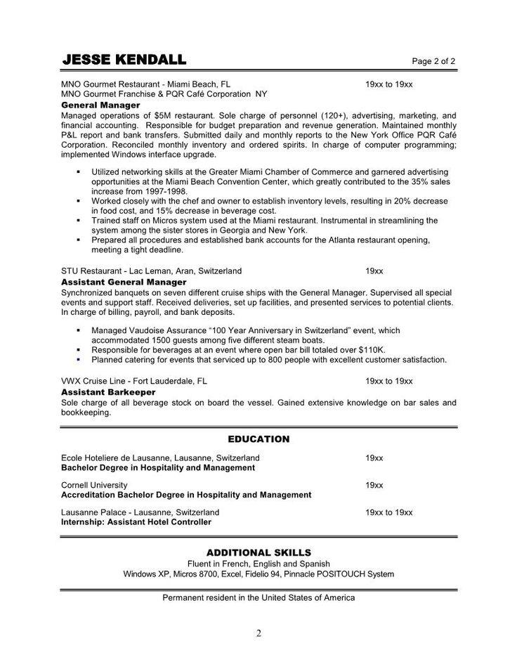 restaurant assistant general manager resume sample provide reference correct good quality format objective sampl