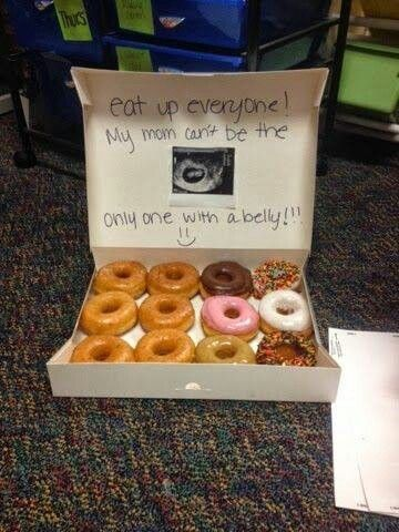 "Cute baby announcement idea to announce to family. But, for first baby don't put the, ""my mom"" words."