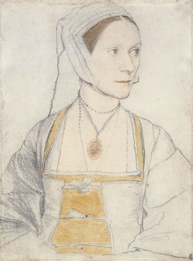 This sketch of Cecily Heron, youngest daughter of Sir Thomas More, was drawn by Hans Holbein the Younger in 1526 or 1527. Cecily has had simple ties added to her bodice to accommodate for her pregnant figure.