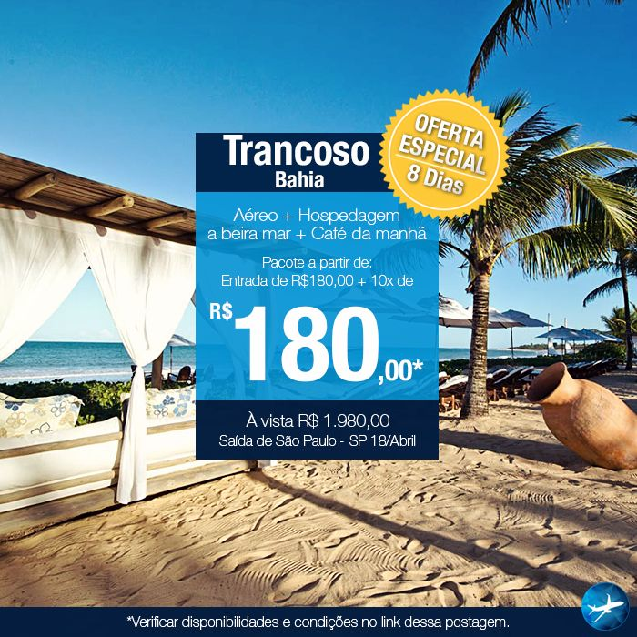 Trancoso Description: Air with direct flights.  Hotel located on the seafront, 2 miles from the historic center of Trancoso. It has beach service, restaurant, pool, parking, laundry, internet wifi, playground, rest and recreation area, 24 hour security and sports courts. The apartments are equipped with air conditioning, fan, TV, telephone and minibar.  Shuttle Service that takes passengers from Porto Seguro airport to the hotel in Trancoso.