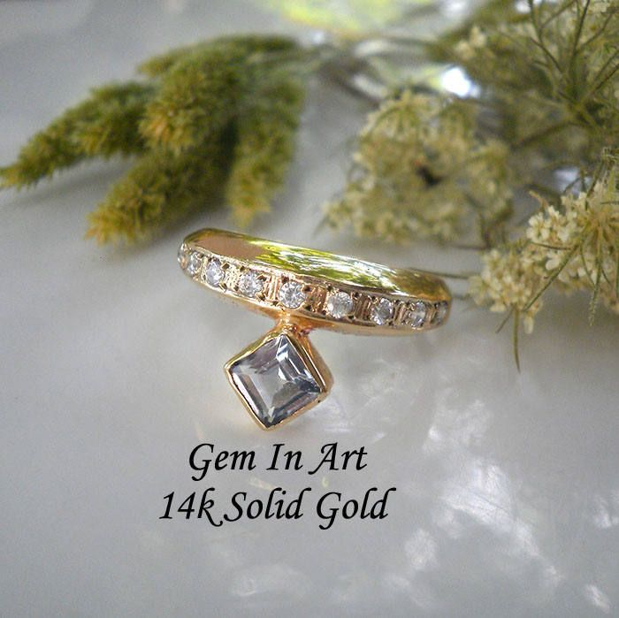Aquamarine Gold ring14k solid gold ringgeometrical