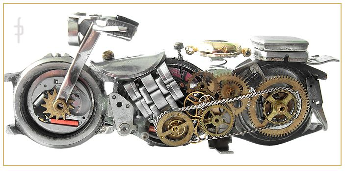 Steampunk miniature motorbike, motocycle made of watch elements. Sold