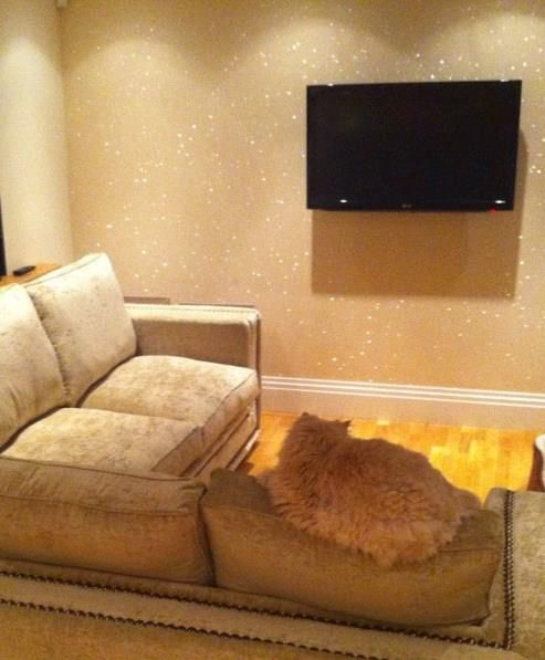 This is EXACTLY the glitter wall I want & room color. Why is the glitter wallcovering only sold in the UK?! :(