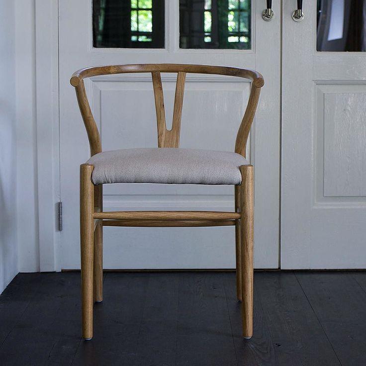 Stoere stoel Woody naturel eiken/linnen. Home@Home.com. Nu 2 voor 349- alleen dit weekend nog!