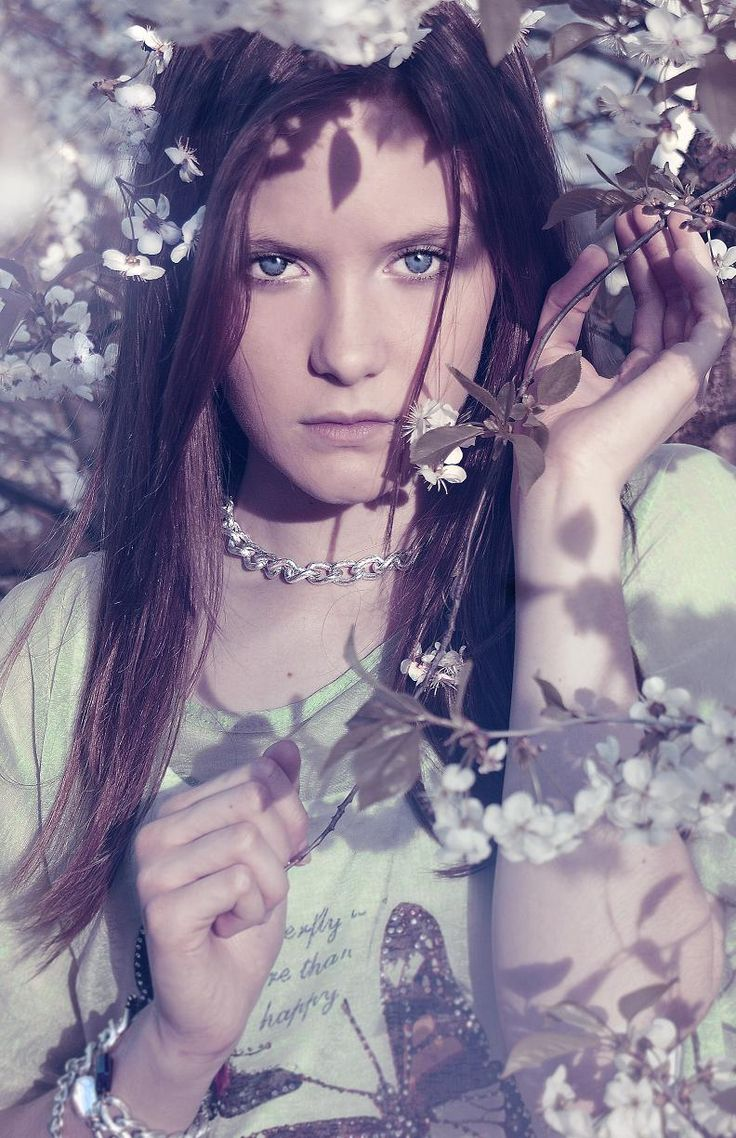 cherry / orchard / flower / girl / eyes