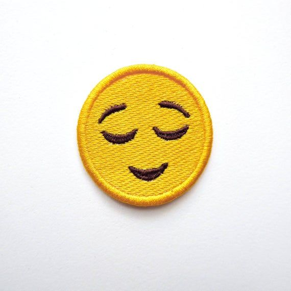 Relieved Face Emoji Embroidered Patch Jacket Patch Bag Sew On Etsy In 2020 Embroidered Patches Patches Sew On Patches
