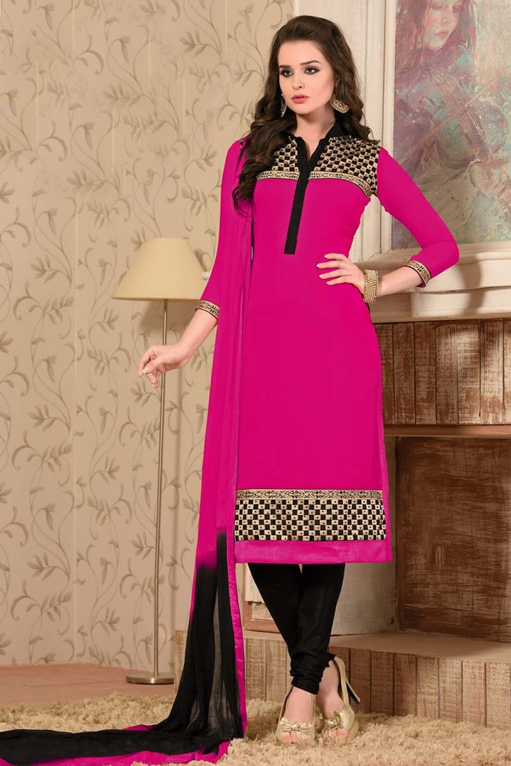 Pink Georgette Churidar Suit