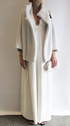 Jussara Lee, white sweater and gown