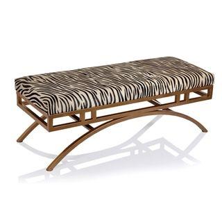 Boston Zebra Hide Anti-gold Ottoman/Bench - Prices, Reviews & Deals - 19654433 - Mobile