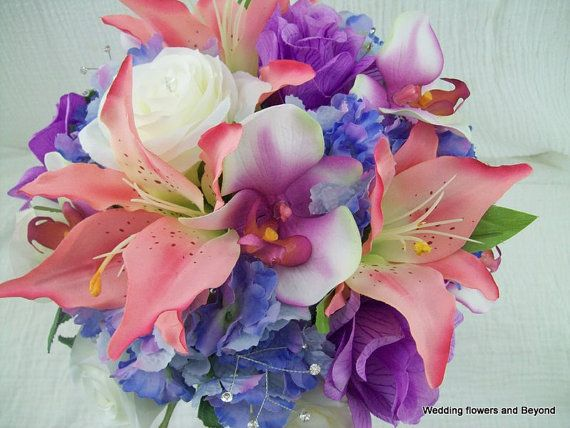 "TRoPiCaL PuNCH PiNKs aND LaVeNDaR LiLieS, ORCHiDS RoSeS SPRiNG WeDDiNG DeSTiNaTioN BeaCH BRiDaL BouQueT By  ""VaN CaRoN CoLLeCTioN"""