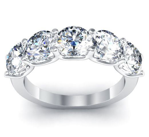 stone five ring classic engagement sidestones rings and round diamond setting with baguette