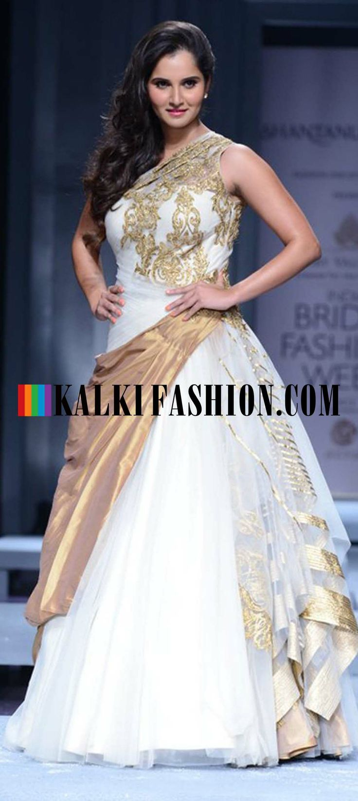http://www.kalkifashion.com/designers/shantanu-nikhil.html Saniya Mirza as the showstopper graces the ramp in beautiful white and gold gown by Shantanu and Nikhil at Indian Bridal Week Nov 2013 at Mumbai